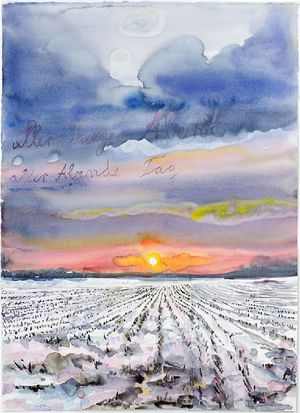 Anselm Kiefer, aller Tage Abend, aller Abende Tag (The Evening of All Days, the Day of All Evenings), 2014, watercolor on paper, 33 × 24 1/2 inches (83.6 × 62.3 cm) © Anselm Kiefer. Photo by Charles Duprat.