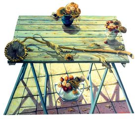 Anthony Green RA, Sunflowers on Margaret's Trestle Table