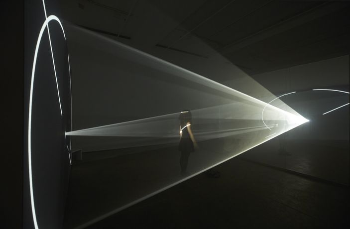 Installation view of Anthony McCall: Split Second at Sean Kelly, New York December 14, 2018 - January 26, 2019 Photography: Jason Wyche, New York Courtesy: Sean Kelly, New York