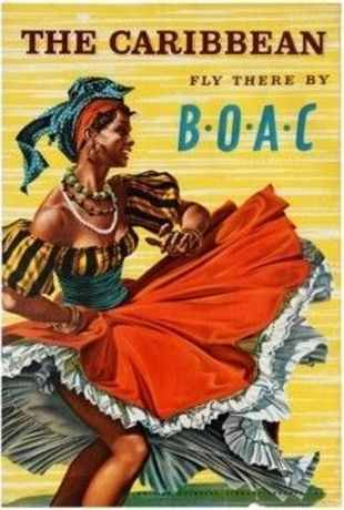The Caribbean fly there by BOAC - 1950 travel poster by Hayes