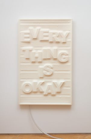 Don't Worry (Wood Panel), 2017 latex, wood, foam, pump 58 × 36 inches (147.32 × 91.44 cm)