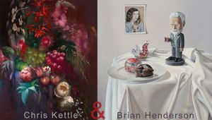Still Life of fruit and flowers by Chris Kettle Teacakes and Nodding Freud by Brian Henderson