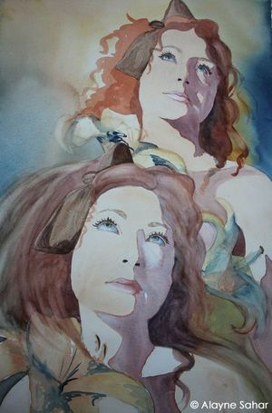 Alayne Sahar -The Two Graces - Watercolor on Cold Press Paper - 24 Inches x 18 Inches
