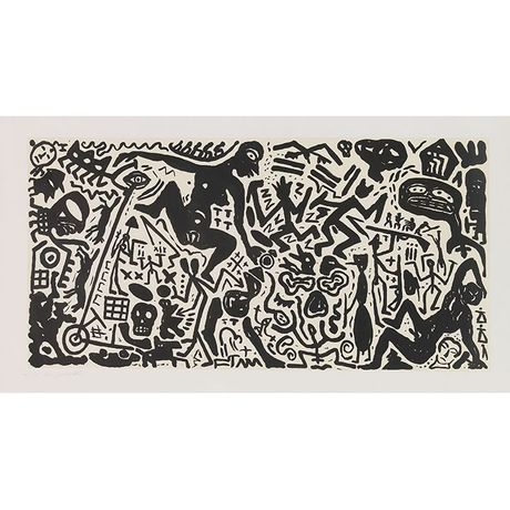 A.R. Penck, Ohne Titel, 1980, Aquatint etching on wove paper. Image: 38.9 x 78.5 inches