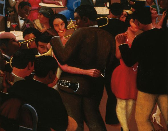 Archibald J. Motley Jr., Blues, 1929. Oil on canvas, 36 × 42 inches (91.4 × 106.7 cm). Collection of Mara Motley, MD, and Valerie Gerrard Browne. Image courtesy of the Chicago History Museum, Chicago, Illinois. © Valerie Gerrard Browne