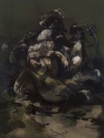 Nazzarena Poli Maramotti, I Cani, 2014, oil on canvas, 195 x 145 cm