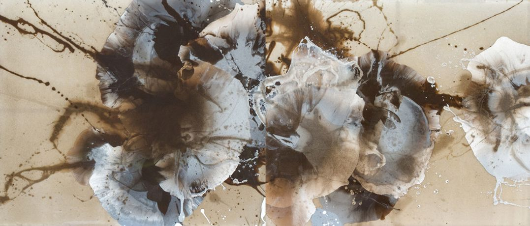 Arin Dwihartanto Sunaryo, Rage, 2015, Pigmented resin, merapi volcanic ash mounted on plexiglass panel, 155 × 360 cm (diptych), SUNA0012