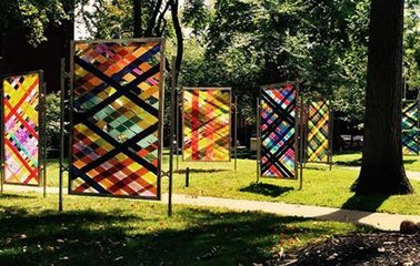 Installation view, Arlene Slavin: Intersections at Pratt Sculpture Park.