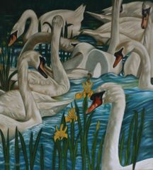 2012,Swans oil on board cm 55x61
