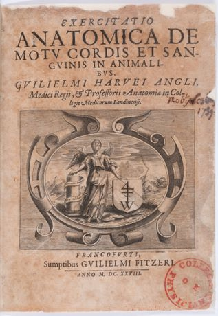De motu cordis by William Harvey, 1628, title page, photograph by Mike Fear (c) Royal College of Physicians