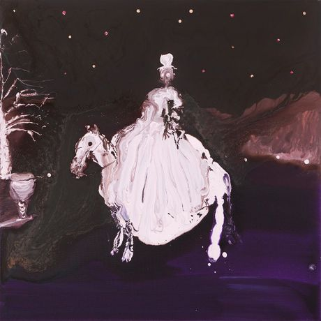Genieve Figgis, Lady on a horse, 2017, Acrylic on canvas, 70 x 70 x 4 cm, 27,5 x 27,5 x 1,5 inches, © Genieve Figgis - Courtesy of the Artist and Almine Rech Gallery