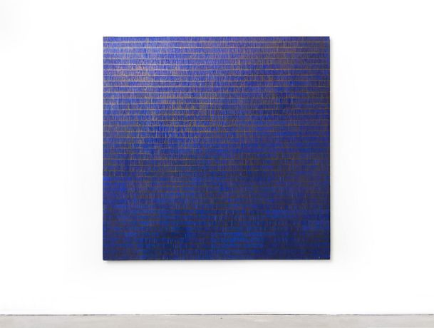 'Blue + Bronze' oil on canvas, 140 x 140cm