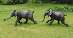Kimba & Chinja, life-size elephant calves in bronze resin