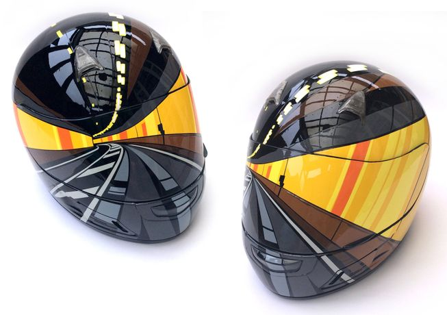 Tunnel Vision 2. Hand-cut vinyl on crash helmet