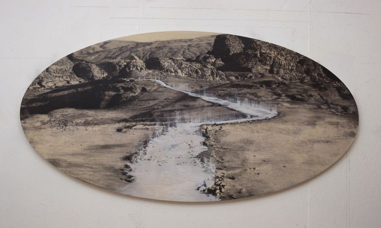 Alone Among The White River, Saad Qureshi,  2015, Mixed Media Charcoal, pastel, pencil, Indian ink on birch plywood, 48 × 96 1/10 in 122 × 244 cm. © Saad Qureshi, image courtesy of Gazelli Art House.