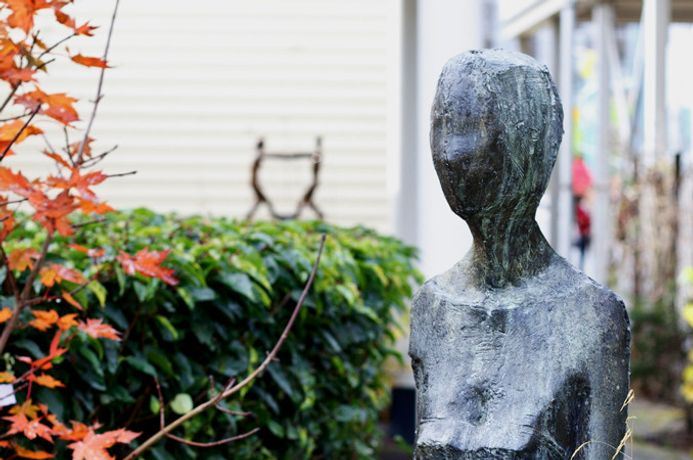 "Anthony Abrahams' ""Figure with Bird"" from MK Hospital's art collection, photo by Wendy Grant"