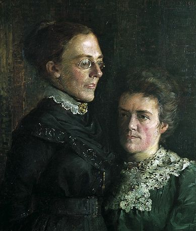Oil painting, half portrait of Isabella Rebecca Dodd and her partner, Henrietta Jane Sadd by Charles Tattershall Dodd Jr, 1904. Tunbridge Wells Museum & Art Gallery.