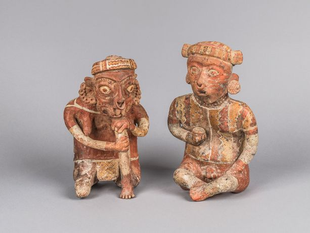 Male and Female Ancestor Figures. Mexico, Nayarit, 300 BCE–300 CE. Painted ceramic. Collection of Mingei International Museum, gift of Fred and Barbara Meiers