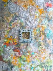 "Image Copyright © Chitra Ramanathan 2016. No Reproductions Allowed. All Rights Reserved by Artist.  It has been great fun working with complex layered textures on and behind transparent Plexiglas to create three-dimensional relief. I hope for viewers to get close to this work in order to enjoy the details and maybe draw a chuckle! This specially created this mixed-media painting for Art on the Island evolved through sculpting with paint, fusing actual doses of painting and mixing acrylic paint with glass beads, sand, plastic, and a variety of papers as collage including self-created hand-made paper and cut-outs of my watercolor paintings of flowers and foliage that appear to ""peek out"" from behind the surface in various areas as on the mid-left, top right and bottom right-hand corners."