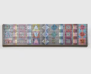 Yaacov Agam, Growth, 108 x 435 x 7,5 cm (42 1/2 x 172 x 3 in), Oil on wood panels in twelve parts, supported by a metal truss, 1972