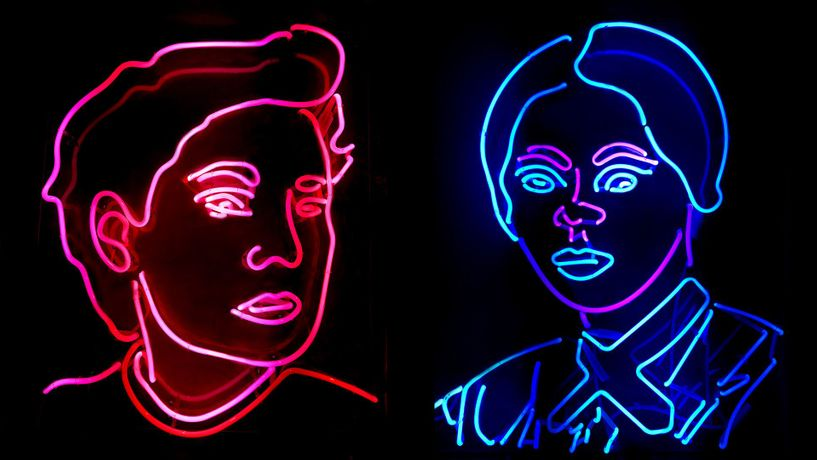 Neon portraits of Victoria Woodhull and Harriet Tubman by Indira Cesarine, founder of Art4Equality