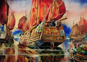 Arthur Beaumont Chinese Junk Boat, 1962 Watercolor 17 1/8 x 23 in. Robert Dreibelbis Collection