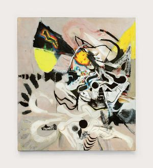 Arthur Lanyon 'Clay Thurch', oil, oil primer, oil stick, acrylic, charcoal powder, collage on linen, 217 x 190 cm