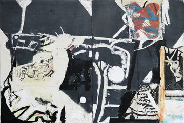 Lunar Tricks oil, acrylic, charcoal, collage on two panels , 80 x 120 cm