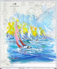 Kerry Hallam, Galveston to the Rio Grande, acrylic on nautical chart, 41 x 34.5 inches