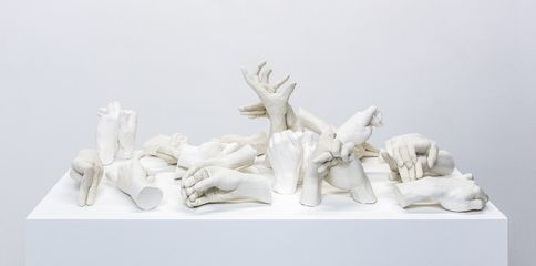 image: Marcus Coates Extinct Animals, 2018 Plaster of Paris, cast from the artist's hands whilst performing the extinct animal's shadow 110 x 110 x 60 cm (including plinth) Courtesy of the artist and WORKPLACE, UK