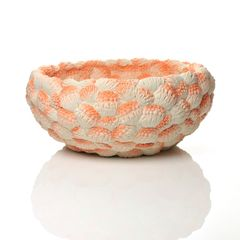 Image: A Large Orange Coral Bowl, 2014, Moulded, carved and hand-built coloured porcelain  © Hitomi Hosono. Courtesy of Adrian Sassoon