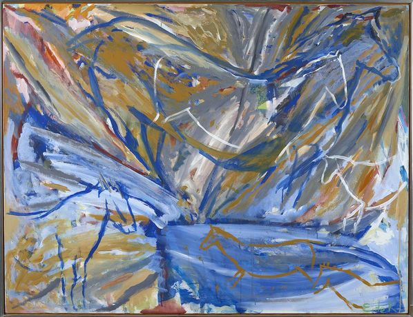 Elaine de Kooning, Six Horses: Blue Wall, 1987, acrylic on canvas, 46 x 60 inches.