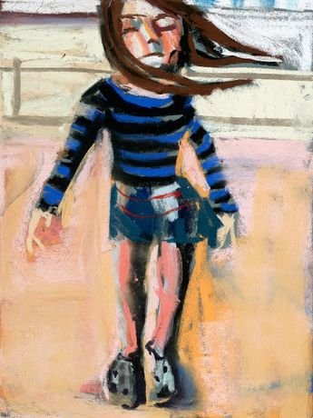 Chantal Joffe, Esme on the Beach, 2015 Pastel on paper board. Courtesy of the artist and Victoria Miro, London/Venice.