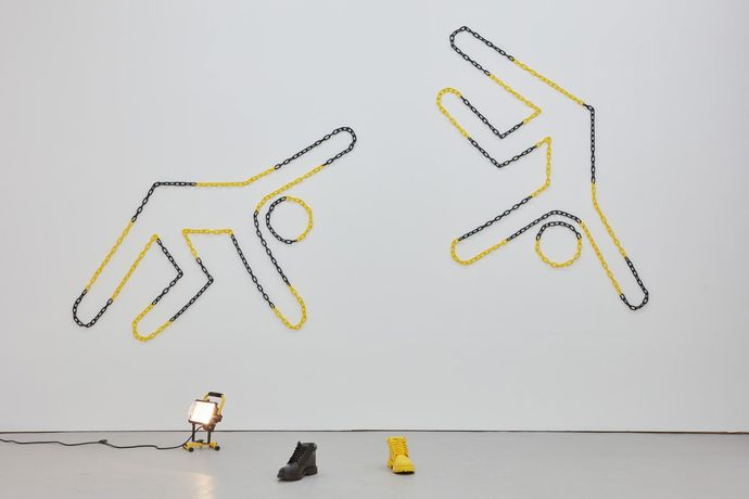 Paul Schneider: 'Safety Dance', 2016, sizes vary, plastic chain, tacks
