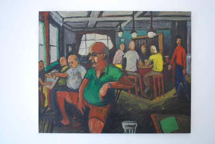 Ben Westley Clarke // Inside The Cock Tavern, 2016 Oil on plywood, mounted on Aluminium, 140x190cm