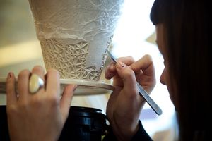 Ceramic artist Leah Jensen at work