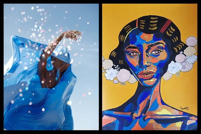 Left: Dagmar Van Weeghel | Mombasa Blues, Uluru, 2016. Right: REWA | Eziamaka, 2017.