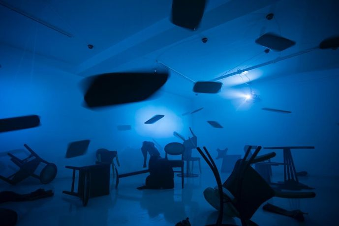 Image credit: Mother, The Air is Blue, The Air is Dangerous by Tim Shaw, installation, 2014
