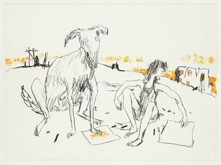 Girls and Dogs, lithograph by Quentin Blake