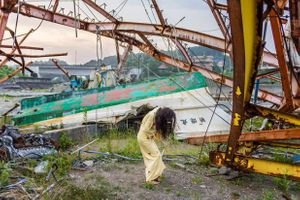 Eiko in Fukushima, Tomioka, 22 July 2104. Photo by William Johnston.