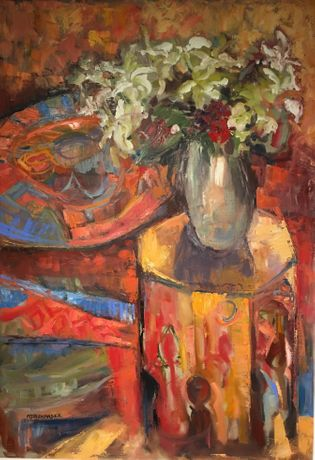 'Lillies on Moroccan Table' - oil on canvas - 70x100cm - Mary Jane Alexander