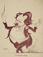 Mark Wayner, Celebrities in Caricature Portfolio, 2 of 37, Sir Henry Wood, 1931, stone lithograph on paper, 37.2 x 25.3 cm, Ben Uri Collection.