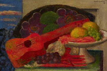 Mark Gertler, Still Life with Guitar, 1935, oil on board, 34 x 51.5 cm. Ben Uri Collection