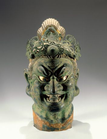 Head of Guardian. Japan. Kamakura period (1185-1333), 13th century. Hinoki wood with polychrome, inlaid rock crystal eyes, filigree metal crown, 22 1/16 x 10 ¼ x 13 15/16 in. (56 x 26 x 35.4 cm). Brooklyn Museum, Gift of Mr. and Mrs. Alastair B. Martin, the Guennol Collection, 86.21. (Photo: Brooklyn Museum)