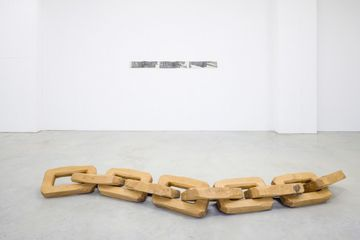 Untitled (Syntagmatic and Paradigmatic), 2012, chesnut wood, 30 x 25 x 325 cm