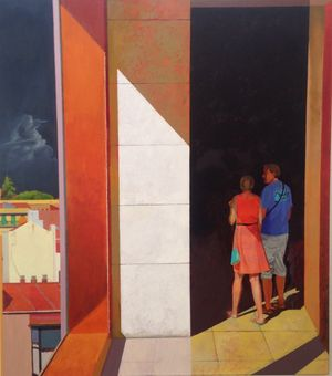 Madrid Couple II, oil on canvas by Gethin Evans