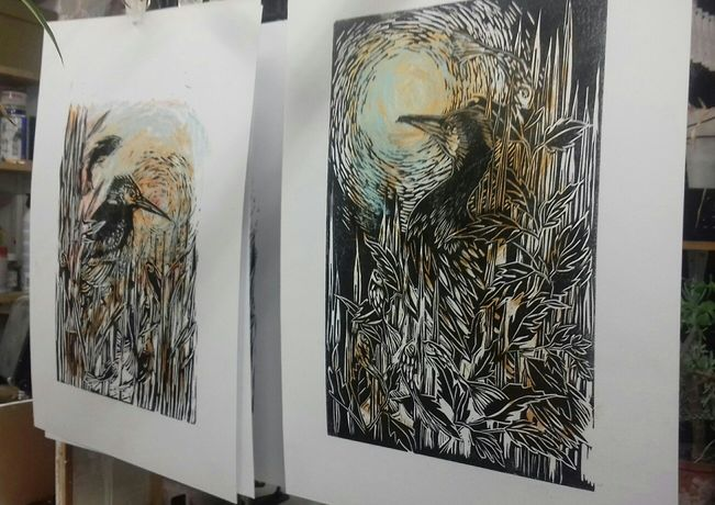 Prints drying in the studio