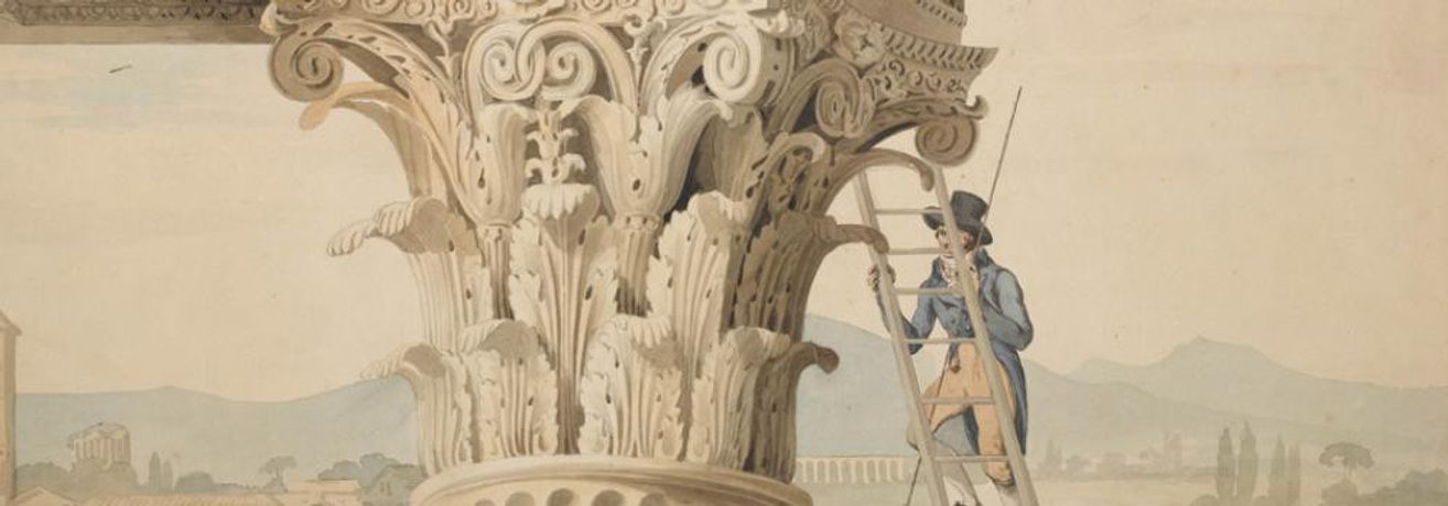 John Soane, Drawing showing a Student measuring a Capital of the Temple of Jupiter Stator (Castor and Pollux), Rome, pencil, pen and watercolour, 1010x730 (Detail) © Sir John Soane's Museum, London