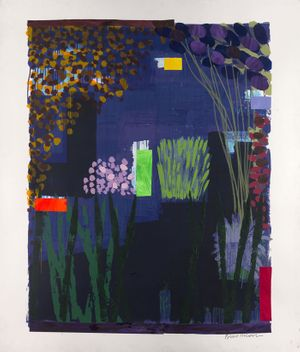 Bruce Mclean. Garden Series, monoprint with collage and hand colour, 70 x 55, 178 x 141 cm, 2016