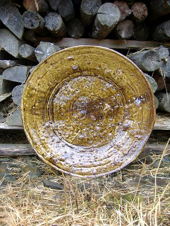 Large Charger with Ochre Glaze. Wood fired stoneware. Deiniol Williams.
